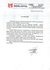 list referencyjny MEBLOPOL