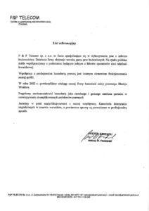 list referencyjny TELECOM